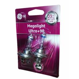 LAMPARA H7 GENERAL ELECTRIC MEGALIGHT ULTRA +90 2 UNIDADES