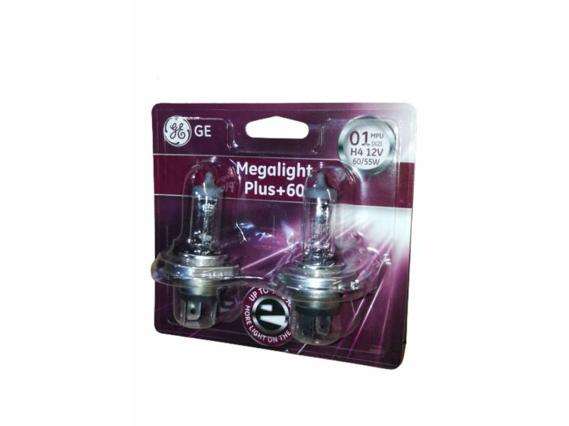 LÁMPARA H4 GENERAL ELECTRIC MEGALIGHT PLUS +60 2 uds